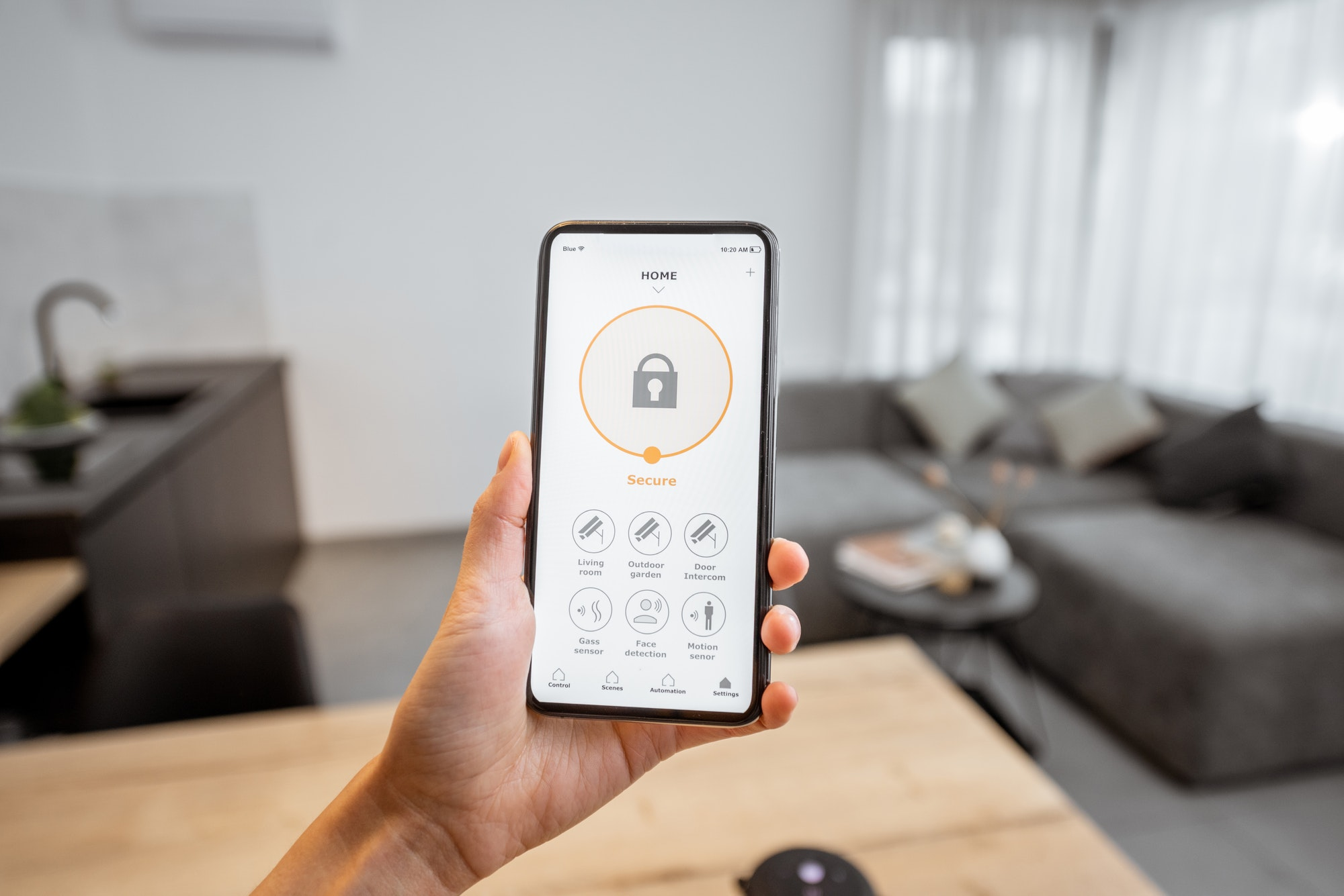 Smartphone with security application indoors